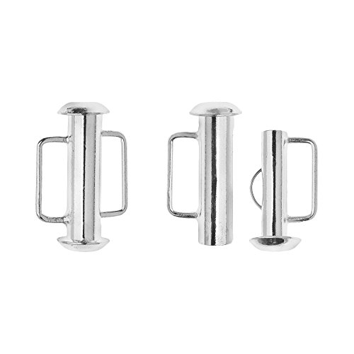 Bar Loop (Beadaholique Slide Tube Clasps, with Bar Loops 16.5x10.5mm, 4 Sets, Silver Plated)