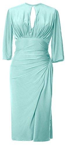 Macloth Jersey Élégant Longueur Genou Demi-robe De Cocktail Manches Robe Soirée Formelle Menthe