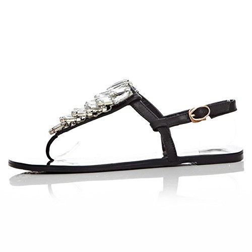 AmoonyFashion Womens Cow Leather Studded Buckle Split Toe No Heel Sandals Black iT5fi