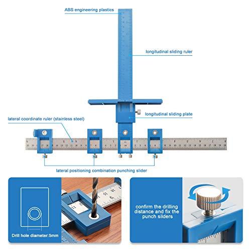 Herramienta de plantilla de hardware para gabinetes - Guía de plantilla de perforación de localizador de punzón ajustable, Guía de clavijas de perforación de madera para la instalación de manijas, perillas en puertas y cajones
