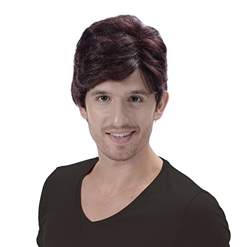 Brown Cosplay Short Wigs for Men-Costume Party Halloween Cheap Synthetic Wig with Cool Bangs