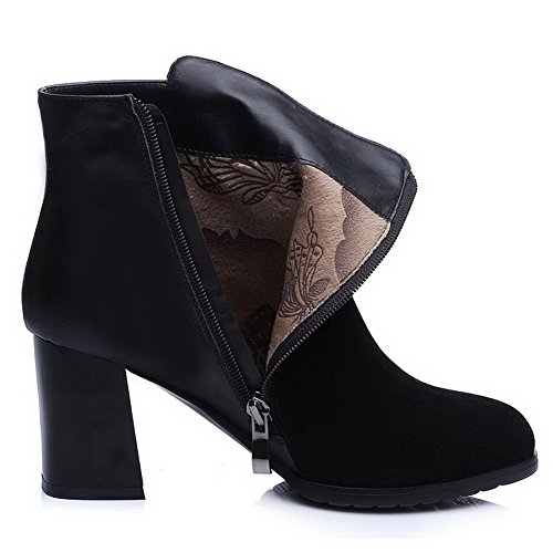 AmoonyFashion Womens Closed-Toe Round-Toe High-Heels Boots With Glass Diamond Black SUZISdtP