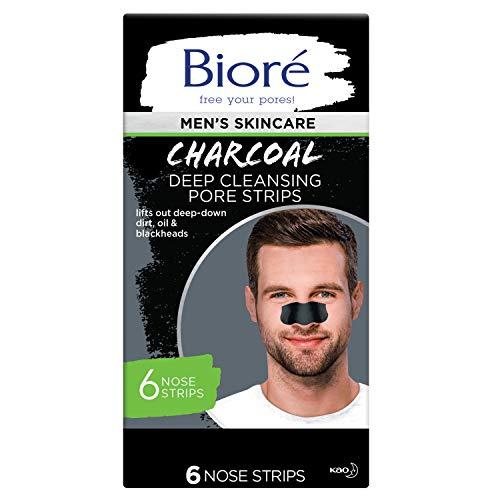 Bioré Men's Skincare Charcoal Deep Cleansing Pore Nose Strips MEN'S CHARCOAL PORE STRIPS, 6 Count