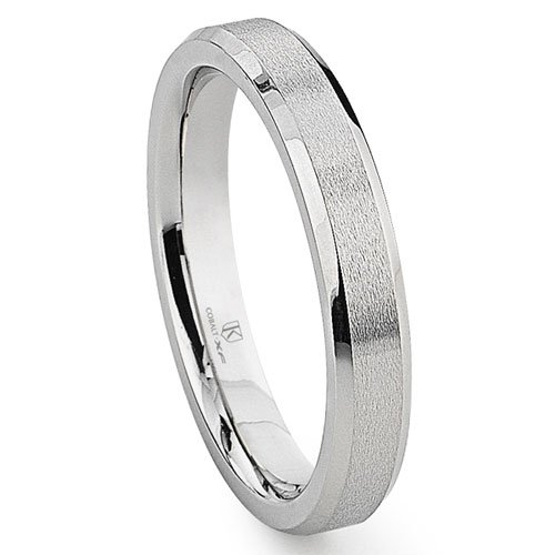 Cobalt XF Chrome 4MM Brush Center Beveled Wedding Band Ring Sz 6.5 SN#158