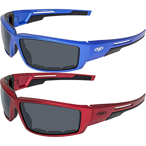 2 Pair Global Vision Sly Motorcycle ATV Padded Riding Glasses Sunglasses with Smoke Lenses and Red and Blue Metallic Frames