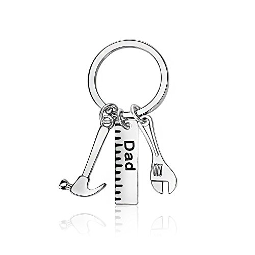 Men Gift Dad Ruler Wrench Hammer Key Chain Ring Tool Charms Pendant My Dad Can Fix Anything Father's Day
