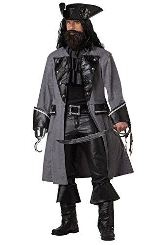 [Mememall Fashion Blackbeard The Pirate Captain Adult Costume] (Captain Flint Costume)