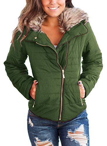 Vetinee Women Casual Faux Fur Lapel Zip Pockets Quilted Parka Jacket Puffer Coat Army Green Small (Fits US 4-US 6) (Full Quilted Zip Coat)