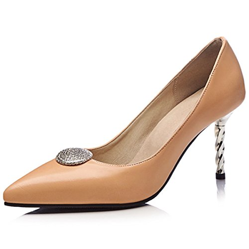 Evening High Stilettos Shoes Work Pumps Party apricot Women's Dress Heels Pointed Toe DecoStain qw6CpRp