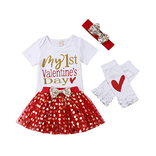 Baby Girl My First Valentine's Day Romper Bodysuits Sparkle Dots Tutu Skirt Leg Warmers with Headband (0-3 Months, White & Red) ()