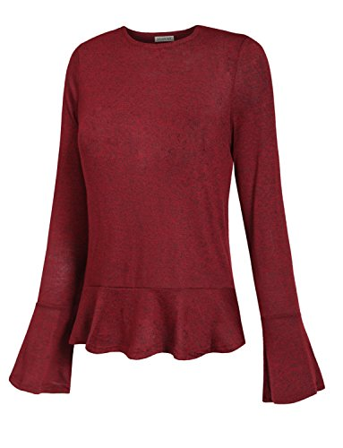 J. LOVNY Womens Simple Solid Flare Long Sleeve Soft Knit Sweater - Christmas Outfits Simple Cute