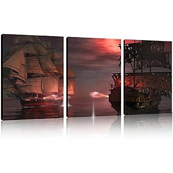 Amazoncom QICAI 3 Panel Pirate Ship Huge Canvas Print Ready to
