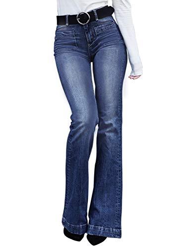 Dokotoo Womens Juniors Fashion Summer Classic Fitted Flare Bell Bottom High Rise Strech Casual Wash Denim Wide Leg Jeans Slim Pants Blue Medium