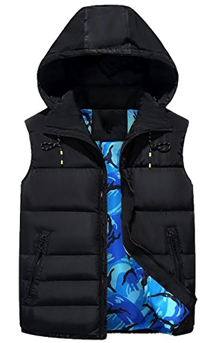 Fulok Mens Removable Hooded Print Zipper Winter Puffer Quilted Vest Jacket hot sale