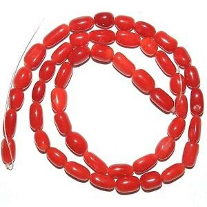 Steven_store CRL287 Red Coral 5mm - 8mm Freeform Round Pebble Tube Beads 15