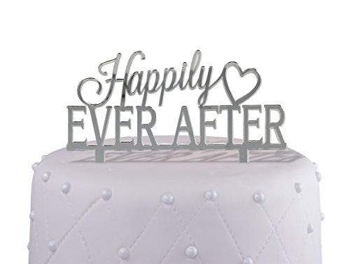 Engagement and Wedding Cake Topper - Happily Ever After - Acrylic with Mirrored Finish (Basket Cake Silver)