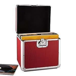 Resident DJ Zeitkapsel caja de aluminio para vinilos (capacidad de 70 LP's, cierre de mariposa, bordes reforzados, asa ergonómico, peso vacío de 2,4 kg) - rojo