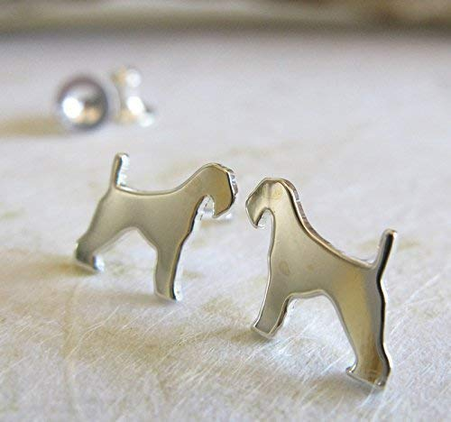 Airedale Terrier stud earrings. Polished sterling silver tiny dog jewelry. Handmade in the USA (Terrier Jewelry Earrings)