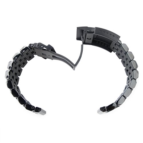 22mm Super Engineer II Solid SS Straight End Watch Band, Button Chamfer, PVD Black by 22mm Metal Band by MiLTAT (Image #4)