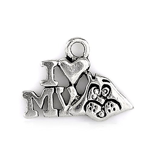 Housweety Silver Message Pendants 17x14mm