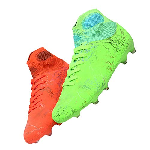 MALAXD Unisex's AG Cleats Training Long Studs High-Top Football Soccer Shoes