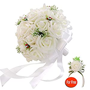 six-qu Rose Wedding Bouquet,Artificial Foam Bridal Bouquet and Groom Brooch with Pearl Ribbon Perfit for Romantic Wedding 36