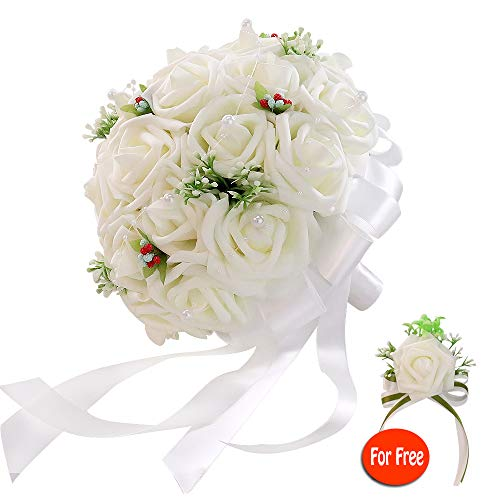 Bridal Bouquet - six-qu Rose Wedding Bouquet,Artificial Foam Bridal Bouquet and Groom Brooch with Pearl Ribbon Perfit for Romantic Wedding (White)