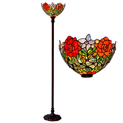 Bieye L10398 15-inches Rose Tiffany Style Stained Glass Torchiere Floor Lamp, 72-inch Tall (Red Rose) ()