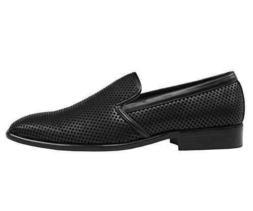 Amali Mens Mini Star Covered Smooth Smoking Slipper, Nightclub Slip-On Loafer Dress Shoe, Style Murray Black