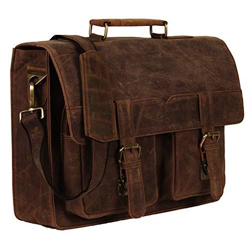 "Handmade_world 16"" Leather Messenger Bag Vintage Buffalo Satchel Laptop Briefcase Unisex Computer Bags for Men Women"