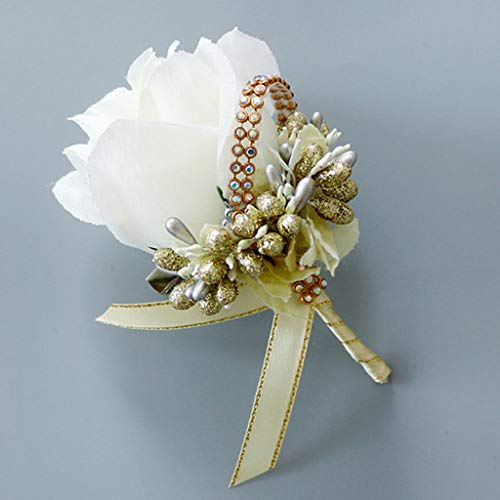 cici store 1Pc Wedding Artificial Brooch Bouquet,Glitter Rhinestone Bride Groom Prom Boutonniere with Pin,White + Gold]()