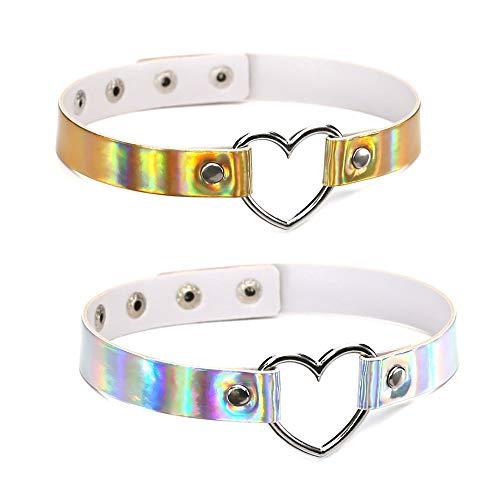 Harajuku Holographic Choker Necklace Heart Laser Collar Chocker Hologram Fashion Jewelry Pu Leather Choker Necklace for Women -