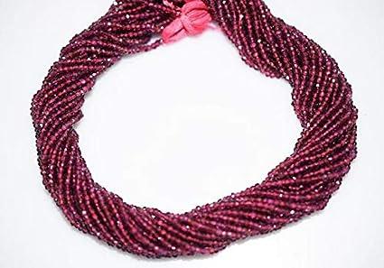 13 inch rhodolite garnet faceted 3-4mm rondell beads gemstone