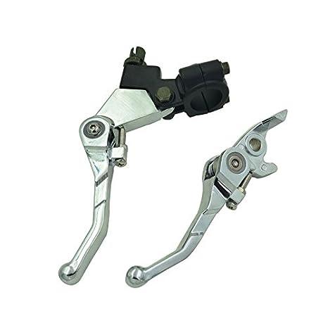 Plegable de aluminio Freno Palanca De Embrague chino Pit Dirt Bike 110 125 140 150 cc Plata: Amazon.es: Coche y moto