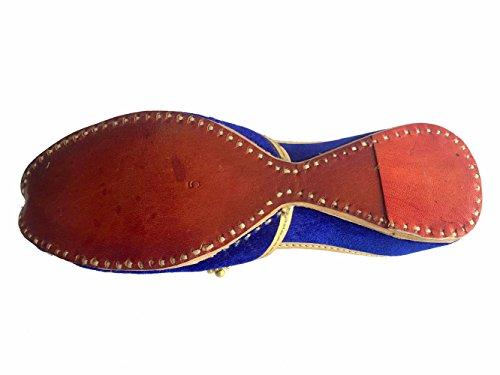 Schritt N Style Damen Blau Khussa Schuhe Panjabi Ghungroo jutti Ethnic mojari handgefertigt Ballett Schuhe Casual Slipon Blau