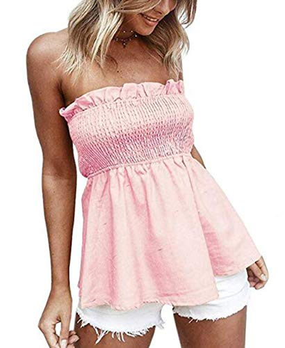 Trim Tube Top - KAMISSY Women's Smocked Tank Top Strapless Frill Trim Tube Top (X-Large, Pink)