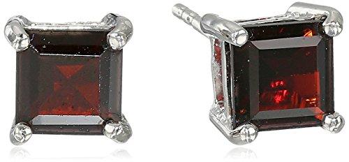 (Sterling Silver Square shape-Cut Garnet Earrings)