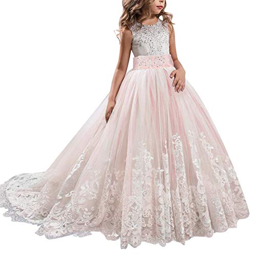 NNJXD Girls Princess Lilac Pageant Long Dress Kids Tulle Prom Ball Gowns Size (170) 14-15 Years Pink (Pageant Dress)