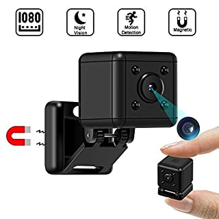 Spy Mini Camera|1080P Hidden Small Camera|Portable Tiny Nanny Cam with Night Vision and Motion Detection|Indoor Security Camera for Home, Car,Office, Outdoor with Magnetic Base (No WiFi)