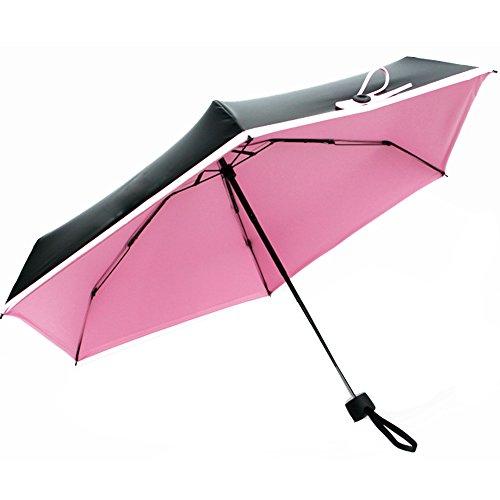 CNHY Mini Umbrella Travel Anti Ultraviolet 5 Folding Compact Pocket Umbrella, Ultra Protective (95% UV Resistance)(Pink)