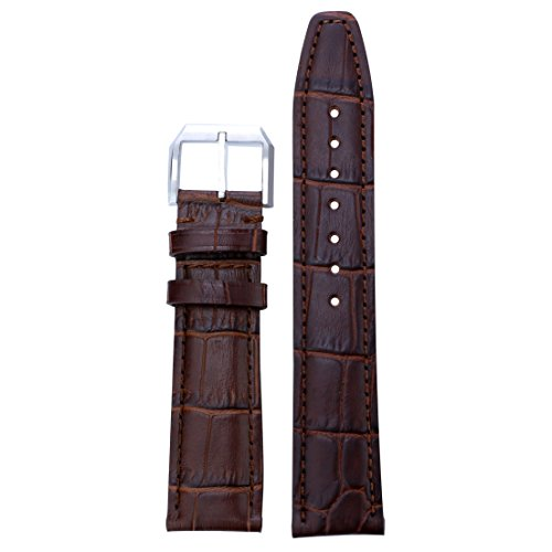 20mm Deluxe Brown Leather Watch Bands Grosgrain Matt Stitched Strap Pin Buckle for High-end Brands (Men Watch Zenith)