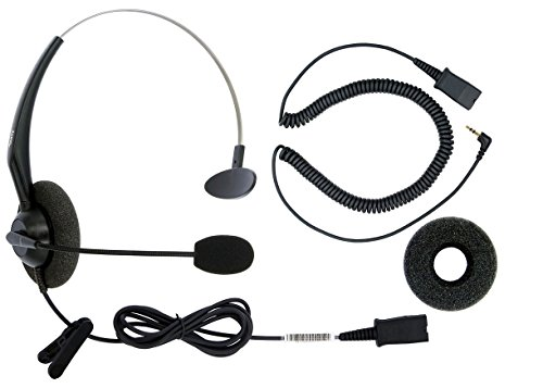 DailyHeadset 2.5 mm Jack Corded Phone Headset QD Over Ear Headphones For Cordless IP Phone Home Landline Telephone (Boom Home Phone Headset)