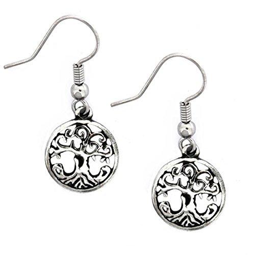 - Pewter Style Celtic Legend Celtic Tree Of Life Drop Earrings