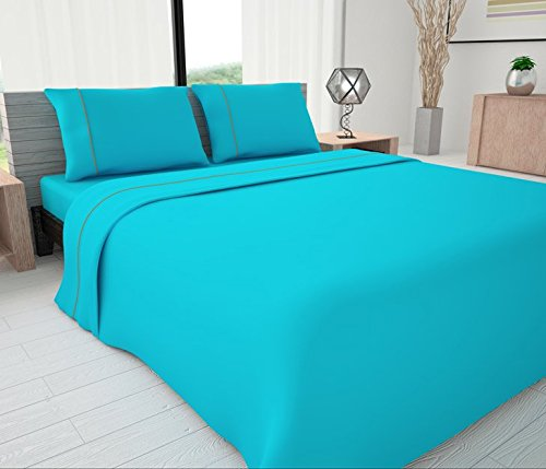 Novelty Bedding 625 Thread Count Egyptian Cotton Blend Solid Sheet Set with Piping Accents,Full, (Egyptian Cotton Coverlet Set)