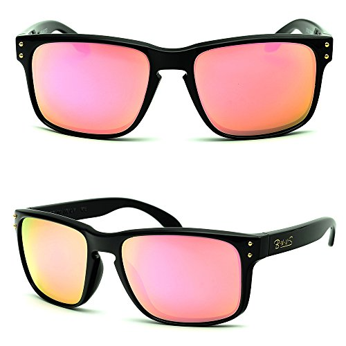 B.N.U.S Hipster Fashion Pink Flash Color Mirror glass Lens Square Black Classic Sunglasses For Women (Frame: Black, Pink Flash)