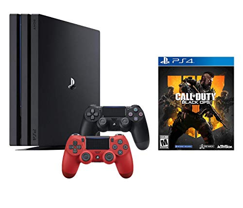 PlayStation 4 Call of Duty Black Ops IIII and 4K HDR PlayStation 4 Pro 1 TB Console with Extra Magma Red Dualshock 4 Wireless Controller (Split-Screen Play Available)