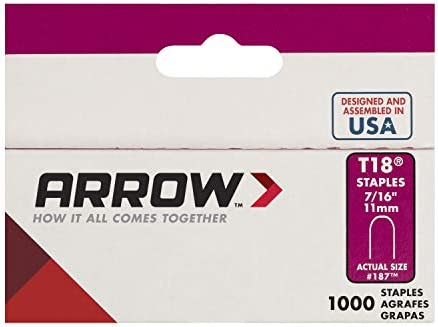 "Arrow T18 3//8/"" 10mm Round Crown Staples Pack 1000"