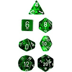Chessex Polyhedral 7-Die Translucent Dice Set - Green ()