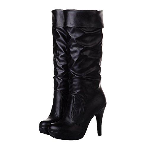 Charm Foot Womens Fashion Mid Calf High Heel Riding Boots Black MkKUxeCHdw
