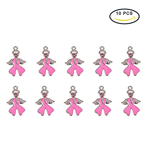 Pink Enamel Breast Cancer Ribbon - PandaHall 10Pcs Breast Cancer Awareness Ribbon with Angel Wing Alloy Rhinestone Enamel Pendants Size 23.5x15x2mm Pink